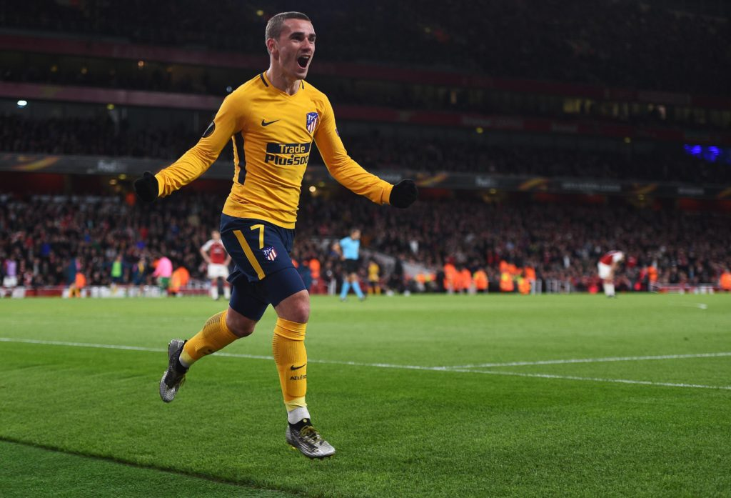 Arsenal v Atletico Madrid UEFA Europa League Semi Final Atletico MadridÕs Antoine Griezmann celebrat